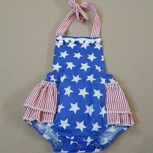 Other - Baby girl 4th of July Patriotic Halter Romper 3-6M